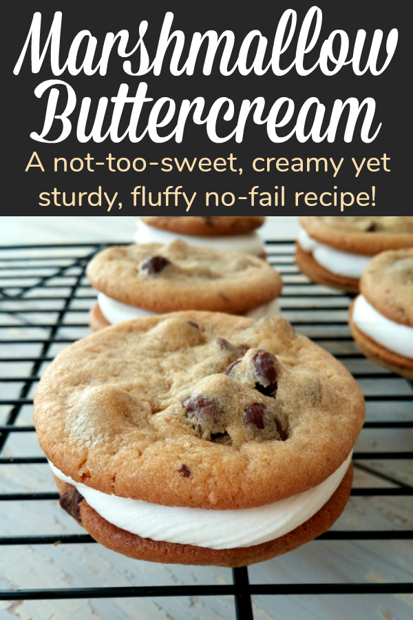 Cookie Sandwiches with No-Fail Marshmallow Buttercream | Two chocolate chip cookies stuffed with a no-fail, not too sweet, no measuring required marshmallow buttercream frosting.