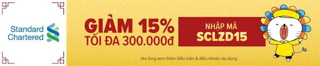 GIẢM 15% TỐI ĐA 300.000VNĐ CHO CÁC CHỦ THẺ TÍN DỤNG STANDARD CHARTERED