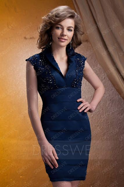 Noble V-neck Knee-length Tiered Lace Embellishing Mother of The Bride Dress