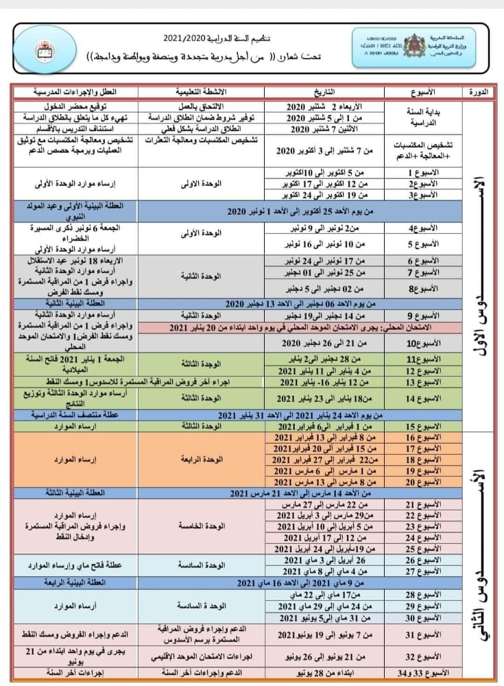 مواعيد إجراء فروض المراقبة المستمرة 2020/2021