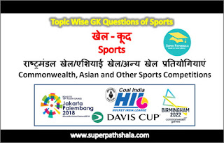 राष्ट्रमंडल, एशियाई एवं अन्य खेल प्रतियोगियाएं GK Questions Set 1