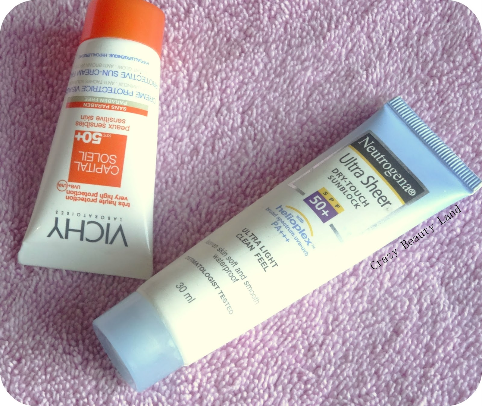 Vichy Capital Soleil Sunscreen, Neutrogena Dry Touch Sunscreen