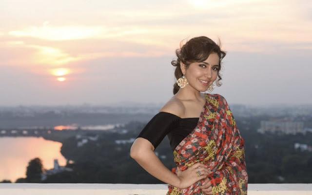 Raashi Khanna in floral print crape saree