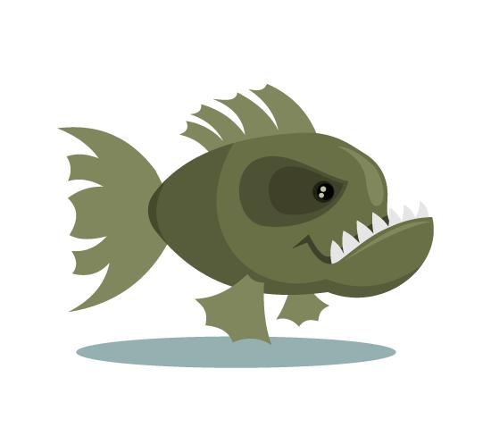 Piraña malencarada - cartoon vector