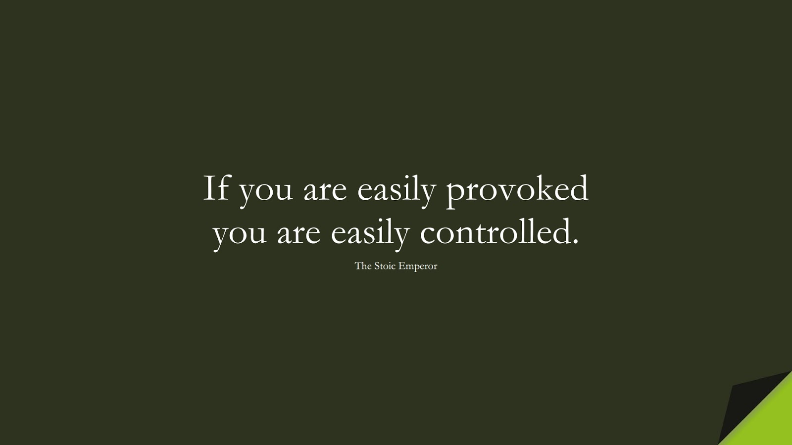 If you are easily provoked you are easily controlled. (The Stoic Emperor);  #BestQuotes