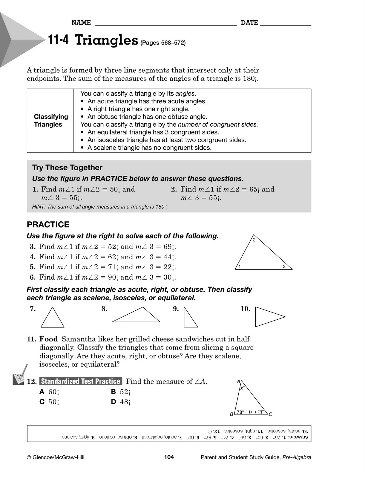 Glencoe Math Grade 8 Worksheets