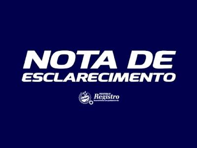 Prefeitura de Registro-SP - Nota de Esclarecimento sobre o senhor Nelson Bellotto