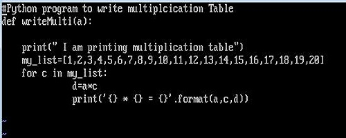 Function to create table