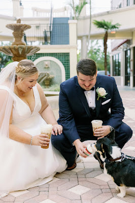 bride groom and dog with treats