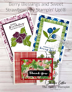 Berry Blessings and Berry Delightful Designer Series Paper Sale a Bration bundle; Sweet Strawberry Bundle (Strawberry Builder Punch) by Stampin' Up!®.  Video link and supply list on blog post.  #StampTherapist #Stampinup