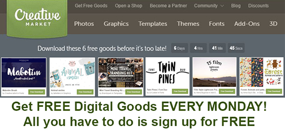 Sign up and join the Creative Market Group and get 6 FREE downloads every week!