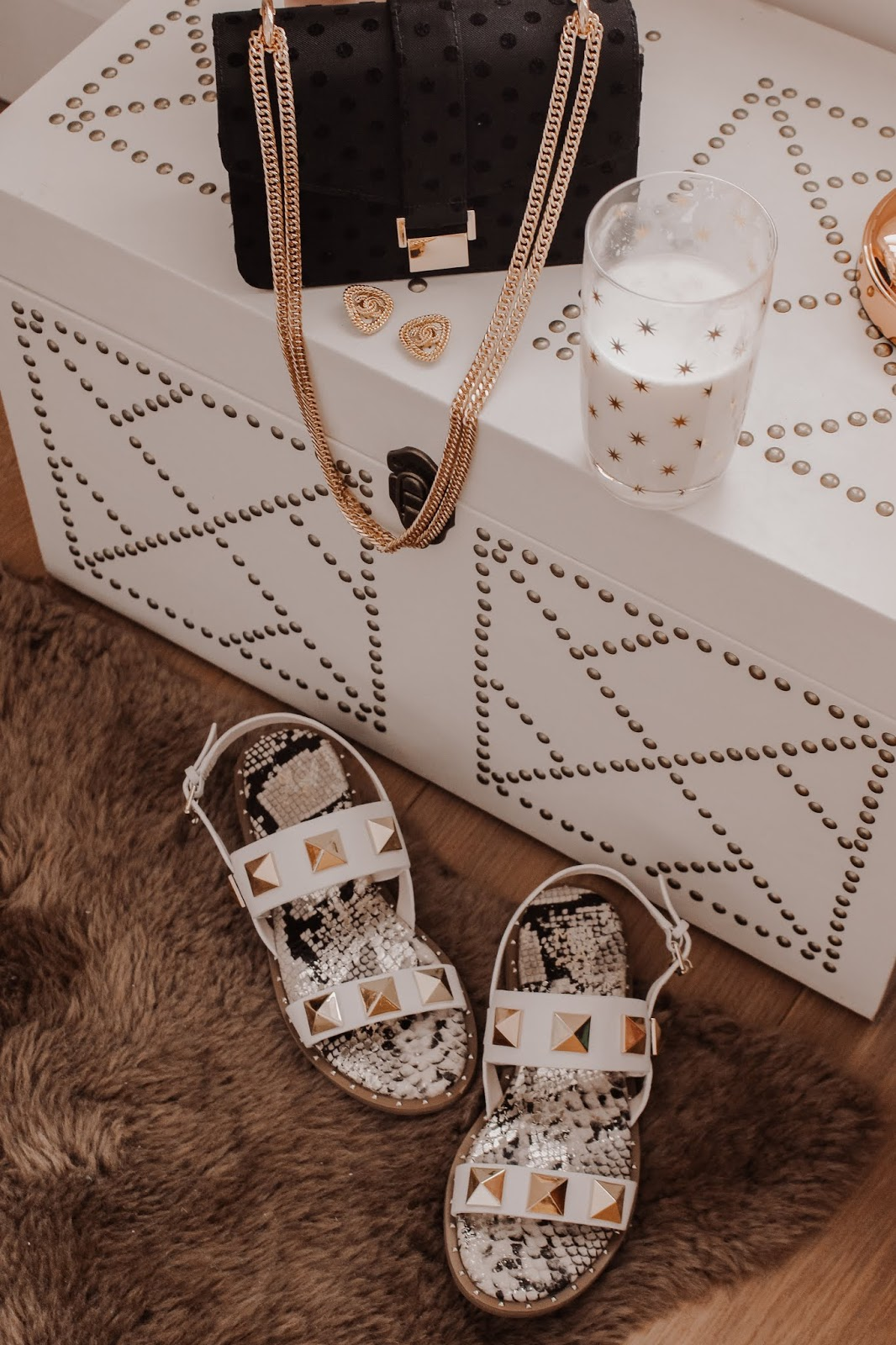 Moda in Pelle White Studded Illani Sandals