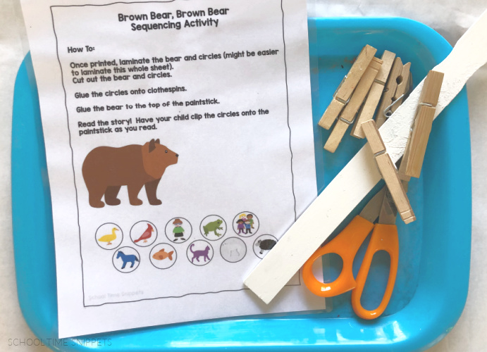 brown bear activities - sequencing stick