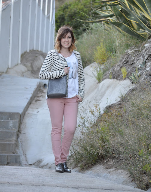 Pink jeans with a striped jacket