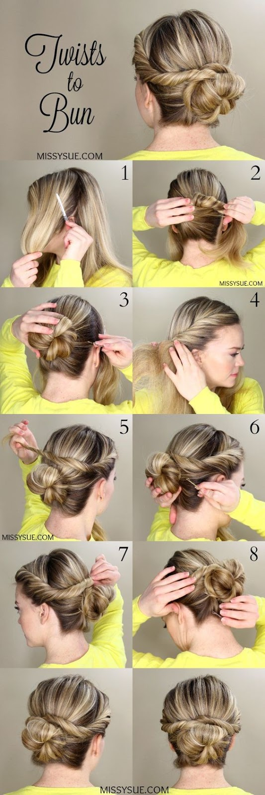 Twists to Bun Easy Women's DIY Hairstyles