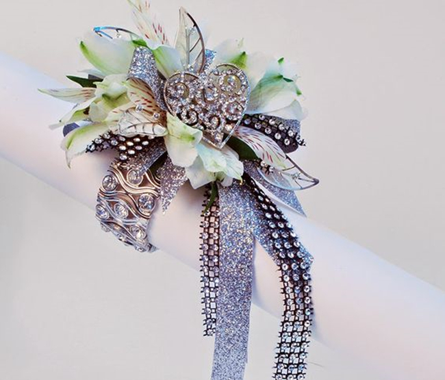 prom white green ribbon corsage