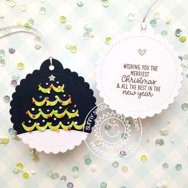 Sunny Studio Stamps: Icing Border Die Scalloped Circle Tag Die Inside Greetings Christmas Tags by Franci Vignoli