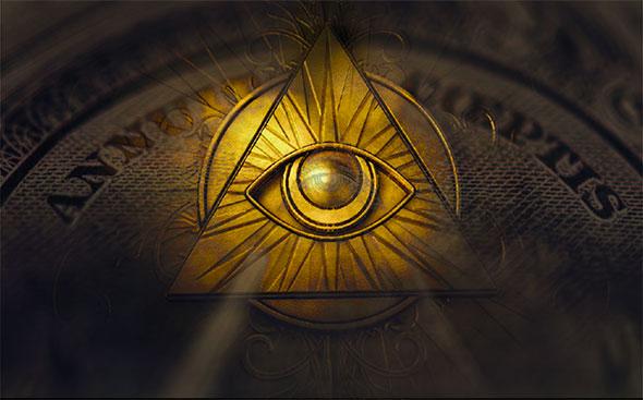 Ojo de horus dorado en billete de un dólar