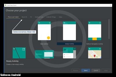 Como crear una aplicación Wear OS en Android Studio