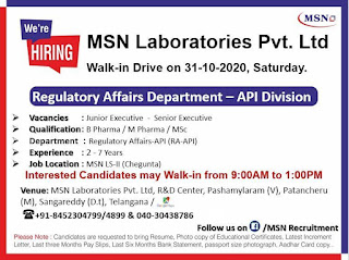 B Pharma / M Pharma / MSc Jobs Vacancy Direct Walk In Interview in MSN Laboratories Pvt. Ltd For Position Junior Executive & Senior Executive