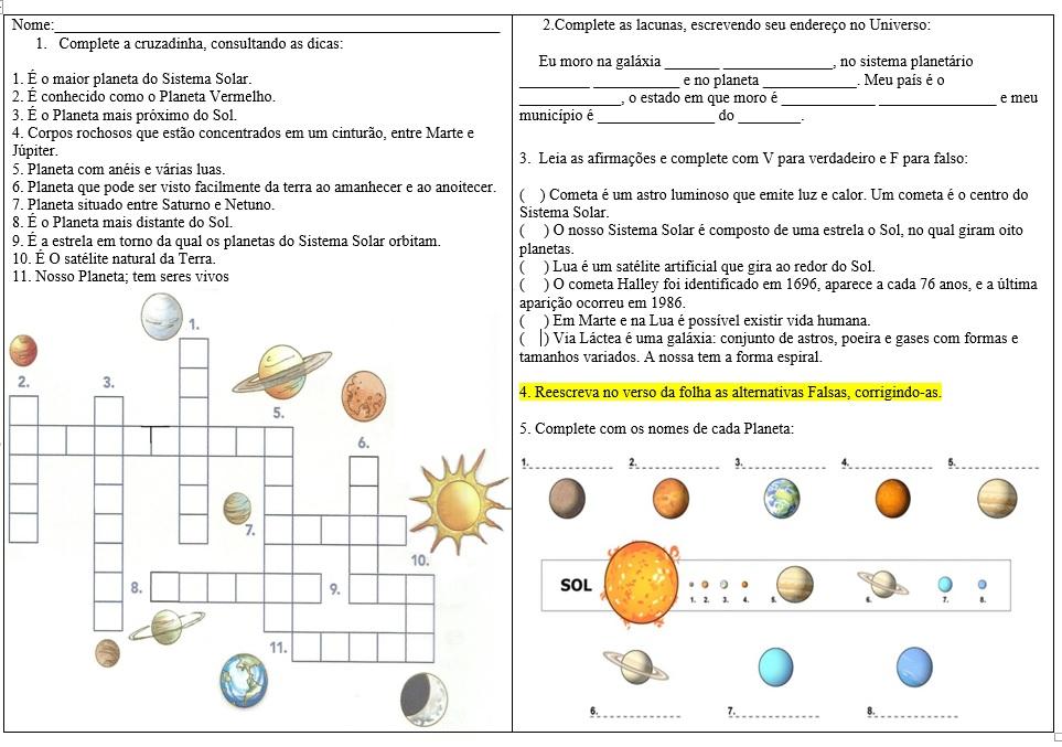 Conhecido Professora Adriana Nicolodelli: Sistema Solar - Atividades OD45