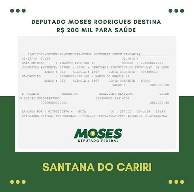Deputado Moses destina  R$ 200 mil para Saúde de Santana do Cariri