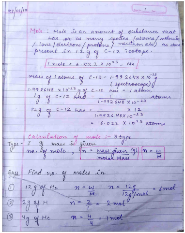 Chemistry Chapterwise Notes (Mole Concept) : For JEE and NEET Exam PDF Book