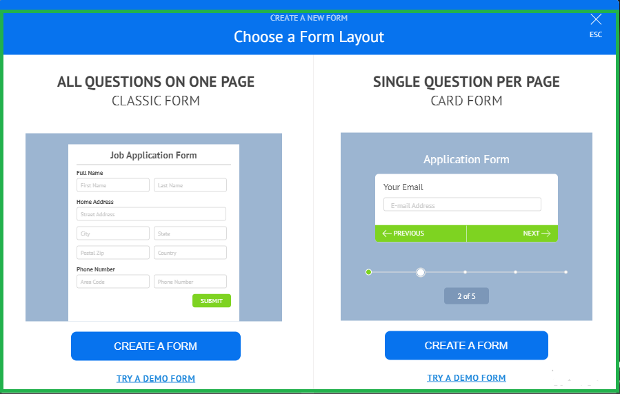 contact form layout