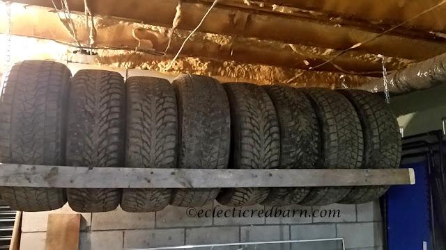 DIY Hanging Tire Rack. Share NOW DIY, garage project, #diy #eclecticredbarn #handmade