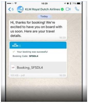 klm airlines whatsapp messenger