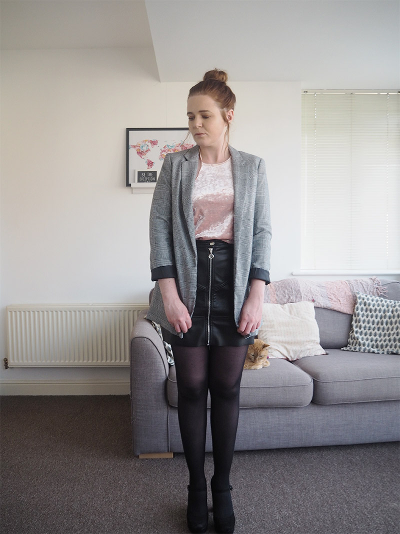Black leather a line skirt velvet pink t shirt checked checkered jacket blazer outfit post
