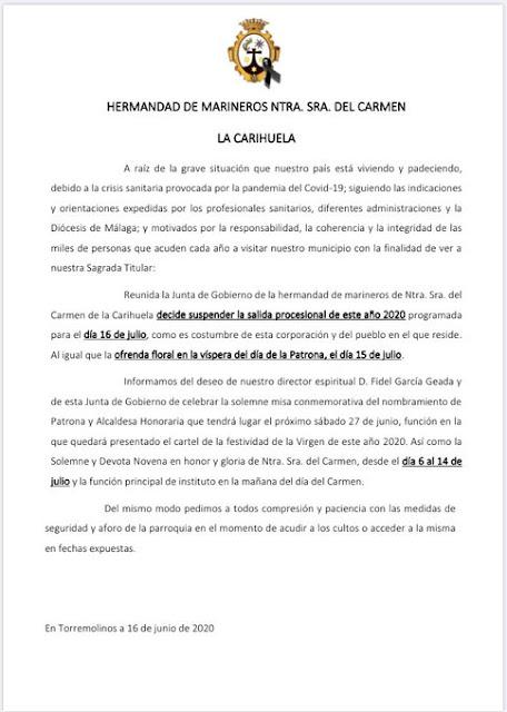 El Carmen de Torremolinos anuncia su suspensión de la procesion de este año