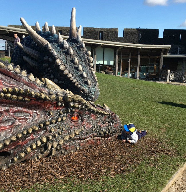 #MySundayPhoto-number-15-toddler-kissing-dragons-at-caerphilly-castle