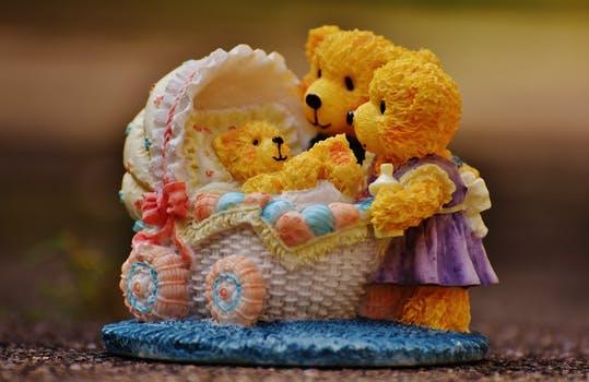 Cute Yellow Teddy Bear Family Photo
