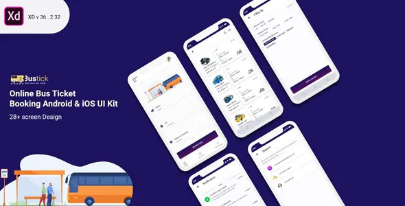 Best Bus Booking Mobile UI Kit Template