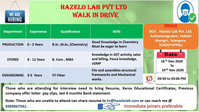 Hazelo Labs | Walk-in drive for Production/Stores/Engg from 16 to 19th Nov 2020