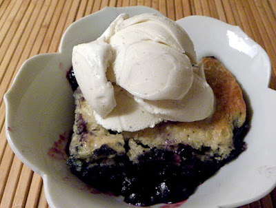bowl of blueberry cobbler a la mode