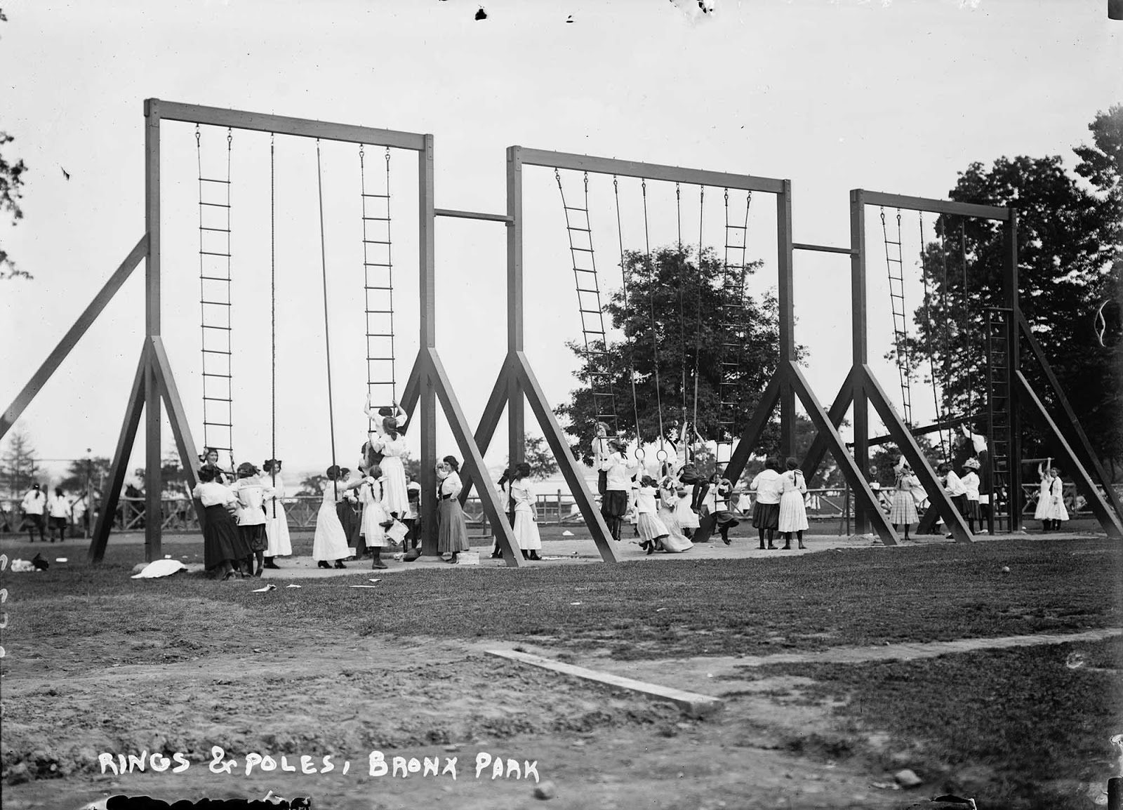 Rings and poles, Bronx Park, New York. 1911.