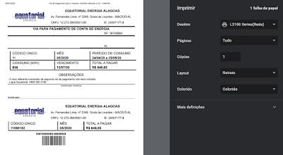 imagem da pagina de impressão da Equatorial energia Alagoas 2 via