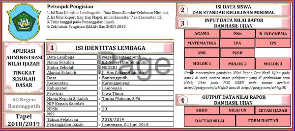 Aplikasi Administrasi Nilai Ijazah SD Tapel 2018/2019