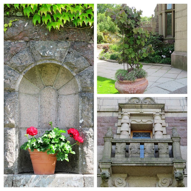 Tjöloholm slott med Johan Tayler fra trädgårdstider, kollasje av detaljer rundt slottet