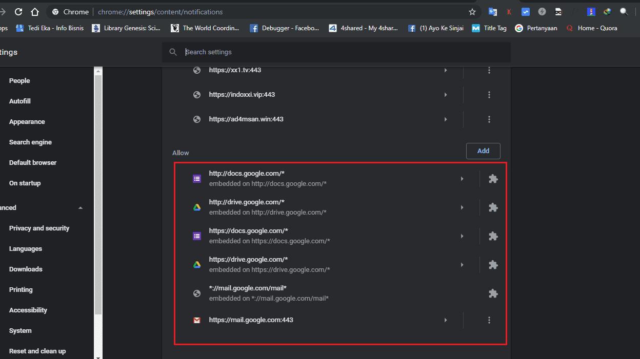 Cara hapus langganan notifikasi situs