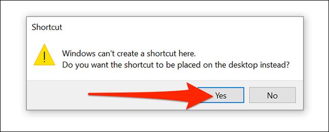"""حدد """"نعم"""" في موجه إنشاء اختصار VPN لنظام التشغيل Windows 10."""