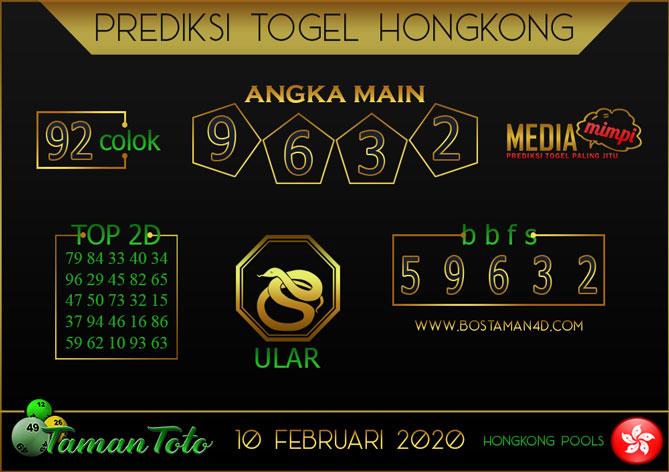 Prediksi Togel HONGKONG TAMAN TOTO 10 FEBRUARY 2020