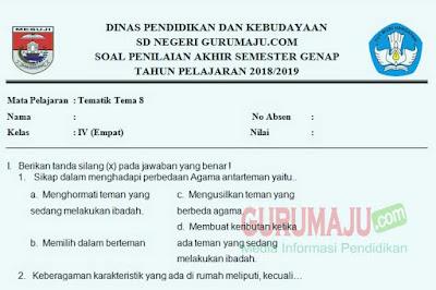 Soal PAT / UKK Kelas 4 Tema 8 Kurikulum 2013 Semester 2