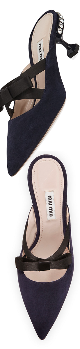 Miu Miu Suede Mule with Satin Bow Blu+Nero