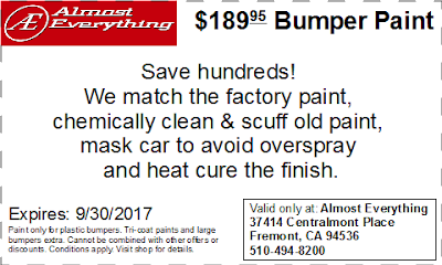 Discount Coupon $189.95 Bumper Paint Sale September 2017