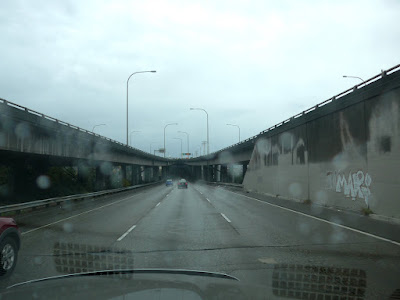 Driving through Seattle Washington in the rain.