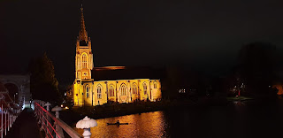 Marlow Church illuminated at night