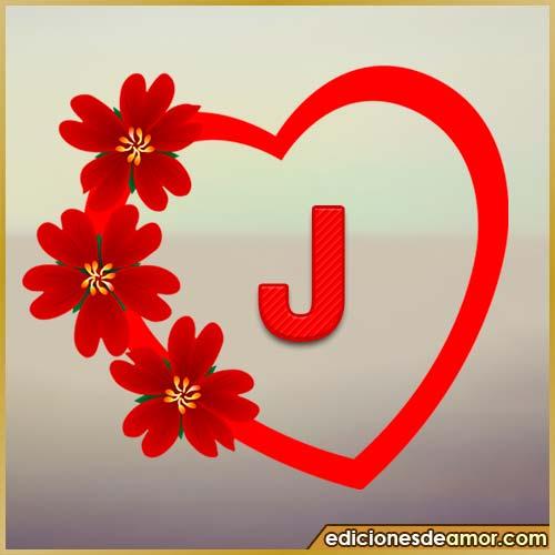 corazón de flores con letra J
